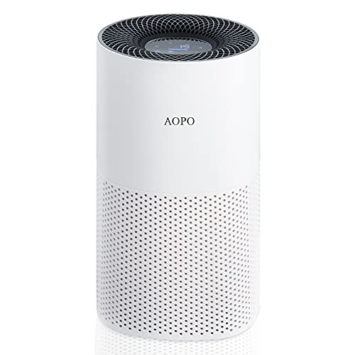 AOPO Air Purifier for Large Rooms, H13 HEPA Air Filter Cleaner for bedroom, Covers up to 1200 sq ft, Filters 99.97% for Smoke, Allergies, Pet Dander, 22dB Ultra Quiet, White (Available for California)