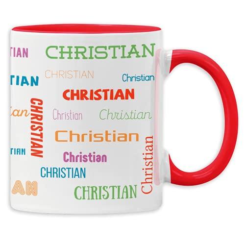 GESCHENK1 Namenstasse mit Wunschnamen rot/ 330ml – personalisierte Kaffeetasse/ Kaffeebecher mit Namen aus Keramik - personalisierbares Geburtstags Geschenk für Männer & Frauen