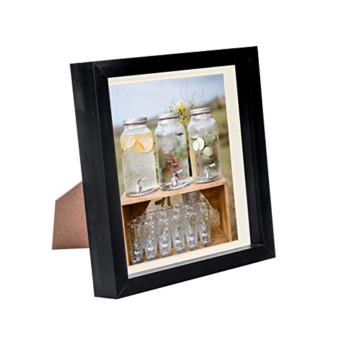 Nicola Spring 8 x 8 3D Shadow Box Photo Frame - Craft Display Picture Frame with 6 x 6 Mount - Glass Aperture - Black/Ivory