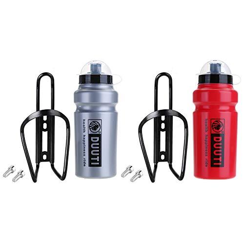 2PC Kit Botella de agua para bicicleta de carretera 2×500ml con Soporte y accesorios, Porta Botella Deportiva, Bidón de Ciclismo para Hidratación