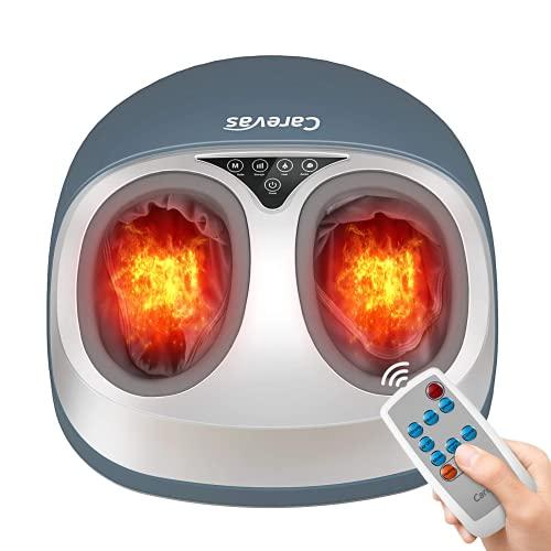 Carevas Fußmassagegerät, Shiatsu Fussmassagegerät Elektrisch mit Wärmefunktion, Luftkompression, Rollenund und Kneten, Lindert Schmerzen bei Plantarfasziitis, Mehrere Einstellungen