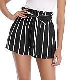 MISS MOLY Pantalones Cortos Mujer Rayas Verano con Pretina Elástica Cintura Alta Pantalones Negro...