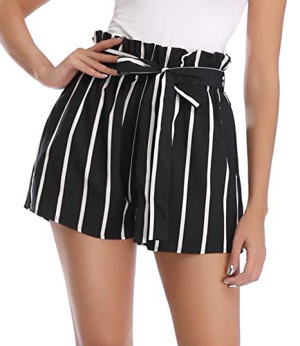 MISS MOLY Kurze Hose Damen Sommer Shorts Gestreift Hohe Taille mit Bindergürtel Leicht Schwarz Small