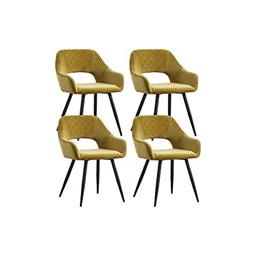 AINPECCA Esszimmerstühle, Samt, gepolstert, mit schwarzen Metallbeinen, für Wohnzimmer, Lounge, Rezeption, Restaurant (Samt, Senf, 4)