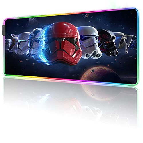 RGB Mouse Pad Gaming Battlefront-2,Soft Mousepad with 12 Lighting Modes & Non-Slip Rubber Base,Textured Cloth Design,Large Glowing Laptop Desk Pad,Computer Keyboard and Mice Combo Pad Mat,31.5X11.8