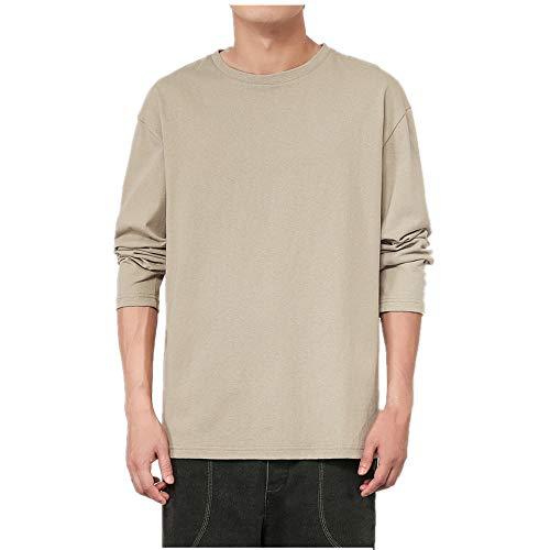 Los hombres de color sólido de manga larga camiseta otoño suelto de los hombres de la base de la camisa simple