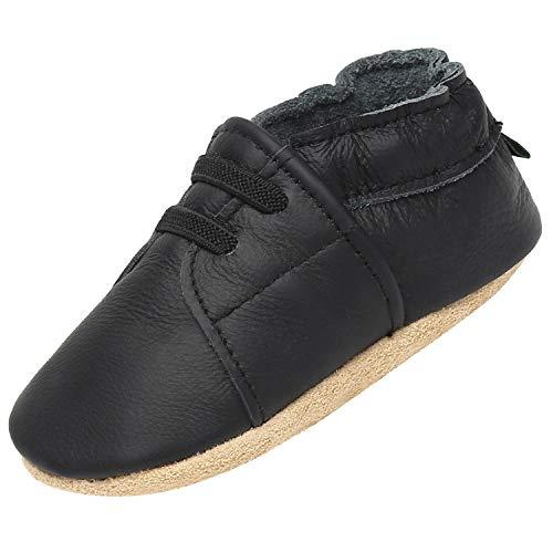 Infantil Zapatos Primeros Pasos Zapatitos para Bebé Suave Cómoda Respirable Antideslizante Suelas de Ante Zapatillas de Bebé Elástico Ligero Slippers, Negro 18-24 Meses