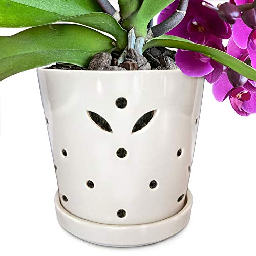 """Atri Ceramic Orchid Pot with Holes, 5"""" Small Decorative Flower Pot with Drainage Hole and Saucer (5"""" H x 5.25"""" W top and 4.25"""" W bottom) Promotes Circulation, Deters Over-Watering For Beautiful Blooms"""