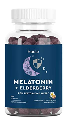 Melatonin Gummies with Elderberry, 60 Gummies (30 Day Supply): 4mg of Melatonin, Organic Elderberry for Immunity Support, Theanine and Chamomile for Relaxation, Natural Flavors, Non-GMO, Vegan