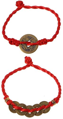 KEEBON 2 unids Chino Feng Shui Riqueza Afortunado Cobre Moneda Colgante Cuerda roja Pulseras joyería de Moda