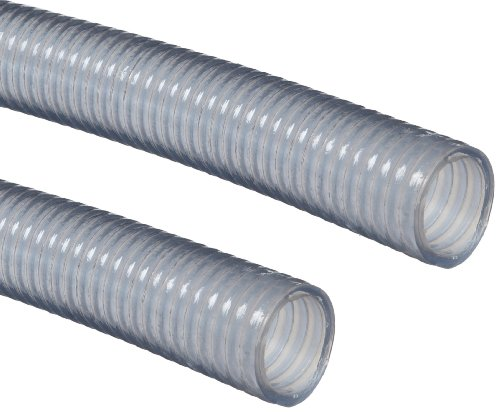"Goodyear EP Nutriflo Clear PVC Suction/Discharge Hose, 29"" Hg Vacuum Rating, 106 PSI Maximum Pressure, 100' Length, 1-1/4"" ID"