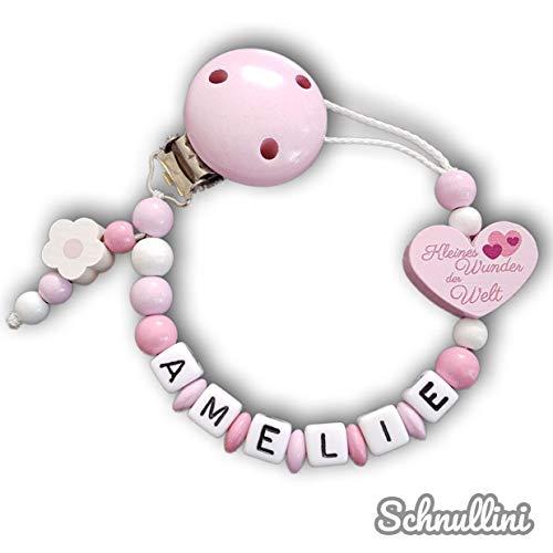 Schnullerkette mit Namen Herz Kleines Wunder der Welt Gravur Geschenk Taufe Geburt individuell Stern | Mädchen rosa Namenskette