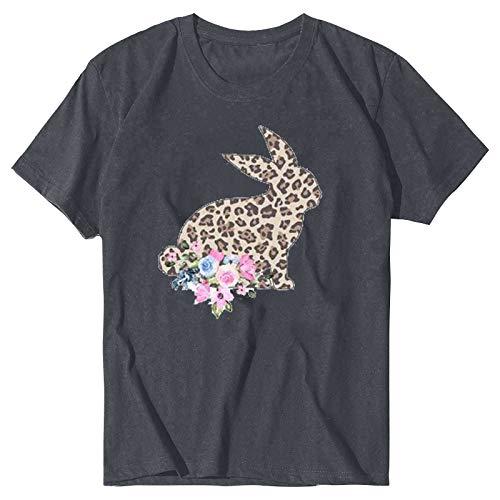 YANFANG Camiseta de Manga Corta con Estampado de Pascua de Moda para Mujer,túnica para Mujer, Ajuste Delgado, Informal, con puños elásticos,, XXL,Gray