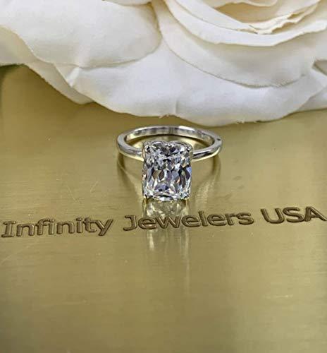 Elongated cushion cut engagement ring