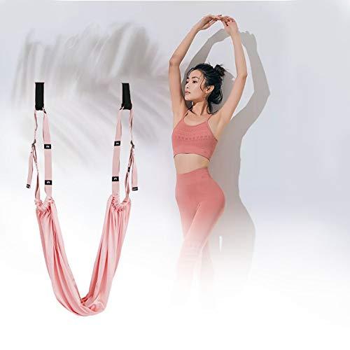 JINGBO Hamaca Yoga Antigravedad, Yoga Ballet Leg Stretching Strap Back Bend Assist Trainer, Yoga Aéreo para Ballet, Baile, Gimnasia, Entrenamiento, Taekwondo,Rosado