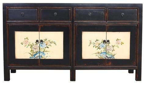 Fine Asianliving Buffet Chinois Commode Chinois Meubles Chinois Armoire de Mariage Chinoise Style Rangement Chinois Mobilier Oriental Armoire Orientale Asiatique Mandarin Pekin 87 x 154 x 45