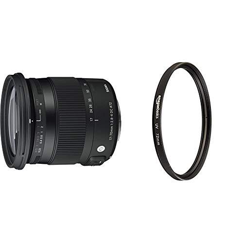Sigma 17-70 mm f2,8-4,0 Objektiv (DC, Makro, OS, HSM, 72 mm Filtergewinde) für Canon Objektivbajonett & Amazon Basics UV-Sperrfilter - 72mm