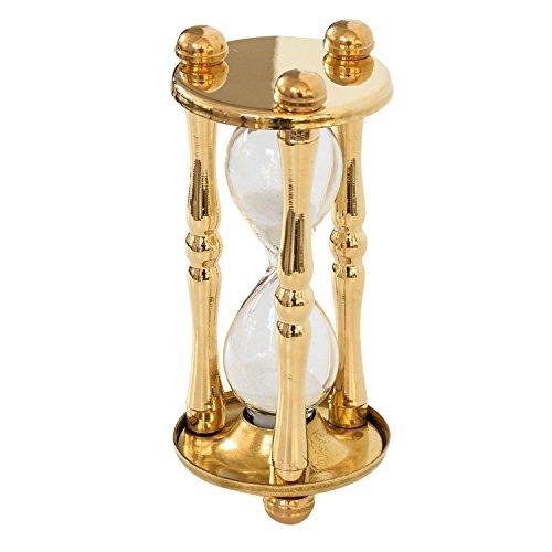 aubaho Sanduhr Stundenglas Eieruhr 5 Minuten Glasenuhr Messing Antik-Stil - 12cm