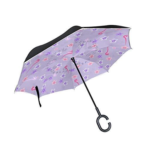 Rode met paraplu's in C-vorm, vogels van kersenbloesems, omgekeerd, winddicht voor regen, dubbele laag, omgekeerd, mannen.