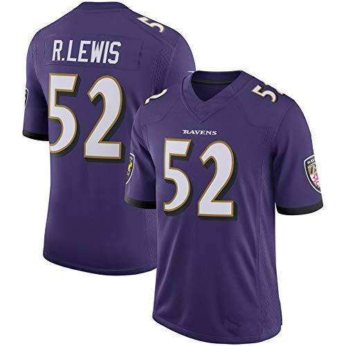 Nmaby Football-Trikot, Baltimore Ravens, Ray Lewis #52, American Football, Herren, Rugby, T-Shirt, Poloshirt, unisex, atmungsaktiv, Freizeit, Sport, violett, xl