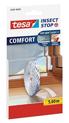 Tesa Insect Stop Comfort Selbstklebender Klettverschlussstreifen für Insektennetz, Nachfüllpackung (Ersatzrolle 5,6 m)