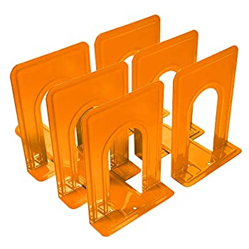Bookends Metal Bookends Book Ends Economy Universal Nonskid Heavy Duty Bookends Shelves Office Orange 6.69 x 4.9 x 4.3in,3 Pair/6 Piece