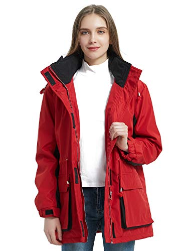 Bellivera Women's Outdoor Windbreaker Jacket,The Warm Padding Trench Coat with Hood for Spring and Winter Red X-Large