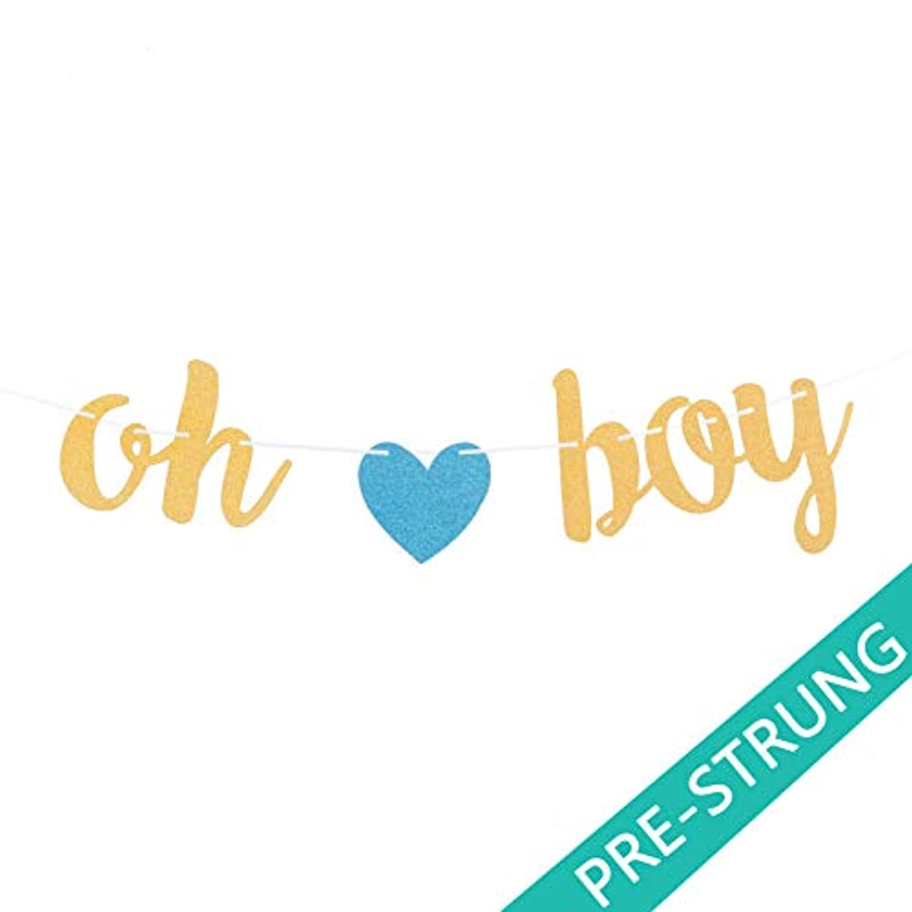 Pre-Strung Oh Boy Banner Gold and Blue - Baby Shower Decorations for Baby Boy