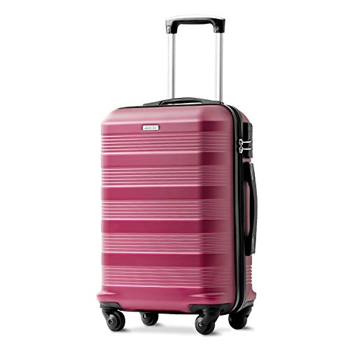Merax 20 inches Red Suitcase, Super Lightweight ABS Hard Shell Travel Suitcase Luggage with 360° Spinner Wheels- Free 1 Year Warranty