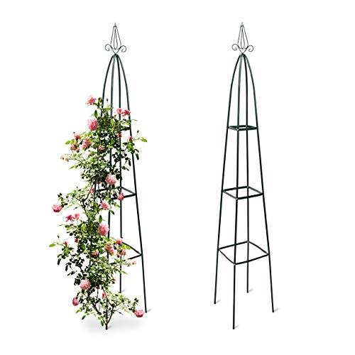 Relaxdays 2X Rankturm, Garten Obelisk, freistehende Rankhilfe für Kletterpflanzen, Ranksäule, Metall, HBT 192 x 35 x 35 cm, grün