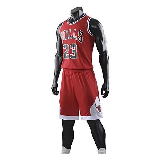 Ordioy Camiseta De Baloncesto Legend para Hombre, Michael Jordan - Uniforme De Baloncesto De Los Chicago Bulls 23#, Logotipo Y Número del Equipo Bordado, Camiseta Sin Mangas + Pantalón Corto,Rojo,4XL