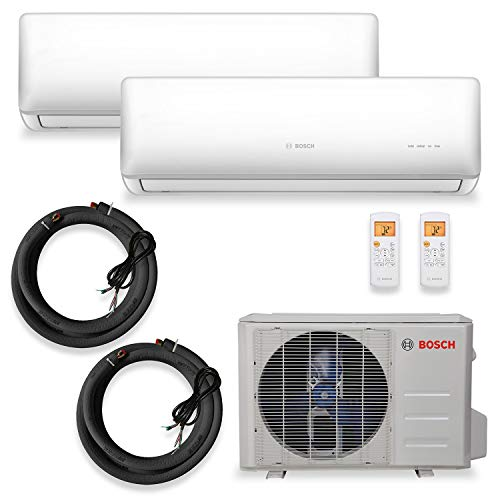 Bosch Thermotechnology Bosch Gen 2 Ultra-Quiet 27K BTU Conditioner & Max Performance System with Inverter Heat Pump and 2 Air Handlers, White/Gray Mini-Split