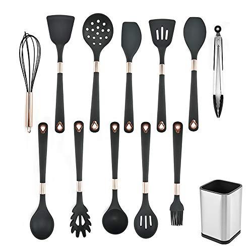 Set de utensilios de cocina de silicona 13pcs Cuchara de la sopa de la pala de la cocina de silicona 13 unids Cuchara fácil de limpiar Cuchara de la herramienta de cocción creativa con tubo de almacen