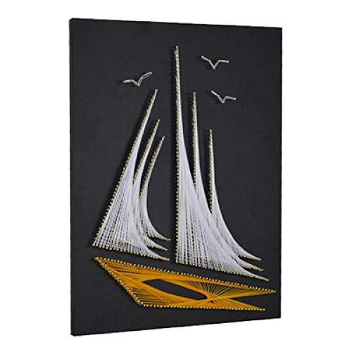 Zeilboot string zijde schilderij handgemaakte diy nagels kronkelende schilderij woonkamer decoratie schilderij 30 * 40cm