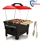 Wellberg Barbeque Grill in Electric and Charcoal Large Size Outdoor/Indoor with 6 Skewers