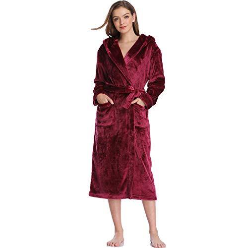 DPKDBN damesslaapjurk, teddy flannel jurk plus size winter warme badjas met capuchon, nachtjurk, jurk, voor dames