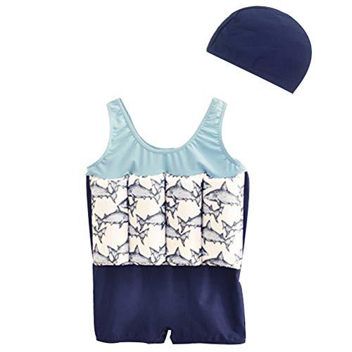 LPATTERN Kinder Jungen/Mädchen Bojen-Badeanzug- 2 Teilig Badebekleidung (Einteiler Badeanzug mit entnehmbar Polster+ Mütze), Blau Fisch, 80/86(Herstellergröße: S)