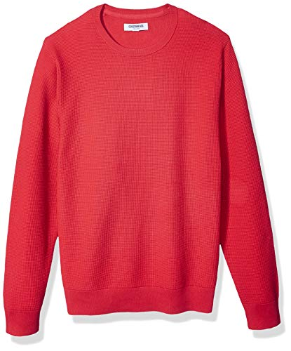 Amazon Brand - Goodthreads Men's Soft Cotton Thermal Stitch Crewneck Sweater, Red Small