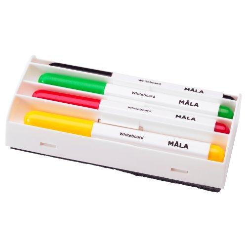 IKEA Mala White Board Marker Set - Geel Zwart, Rood, Groen + Gum