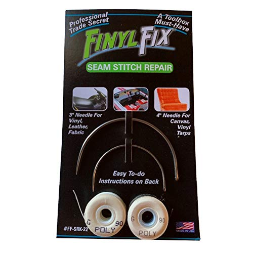 Finyl Fix Seam Stitch Repair Kit - Vinyl, Fabric, Leather, and Heavy Canvas (Includes 2 Heavy Duty Curved Stitching Needles, Black & White Thread)