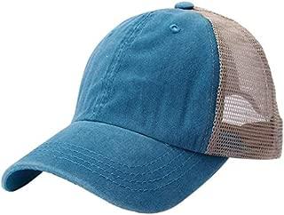 Mini personality baseball cap Safe baseball cap men and women outdoor casual cotton embroidered mesh baseball cap hip-hop hat Men Women (Color : Light blue)