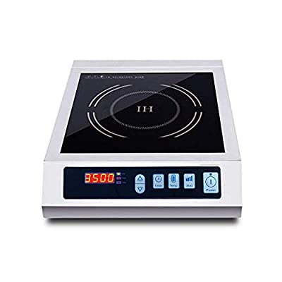 LKZAIY 3500W Induction Cooktop Commercial Induction Cooker Stove Stainless Steel Electric Countertop Burner Hot Plate with Digital Display Panel & Touch Button (Stainless Steel-01, 3500-02)