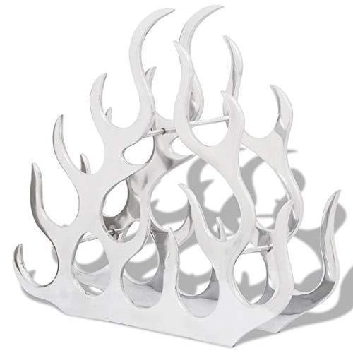 vidaXL Weinregal Flammen Design Flaschenhalter Regal für 11 Flaschen Aluminium