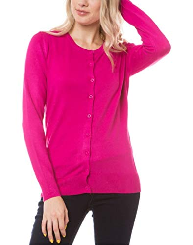 Cielo Womens Long Sleeve Button Down Crew Neck Knit Cardigan Sweater (Hot Pink, Medium)