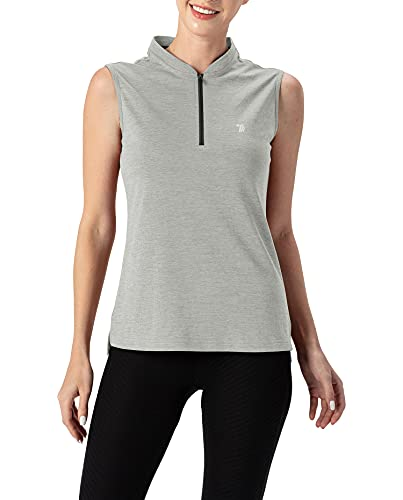 YSENTO Damen Golf Polo Shirt Ärmelloses Leichte Atmungsaktiv UPF 50+ Sport Tennis Tops mit 1/4 Reißverschluss(Grau,M)