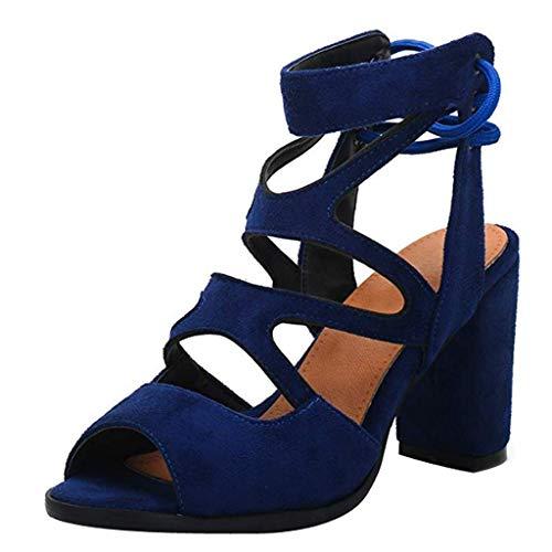 Damen Sandaletten Fashion Pumps Sommer High Block Heel Elegante Rückengurte Offene Zehen Dicke Fischmaul Sandalen Hohl Freizeitschuhe Blau EU:34/CN:35