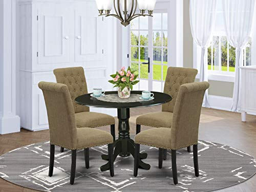 East West Furniture 5Pc Dining Set Includes a Small Round Dinette Table with Drop Leaves and Four Parson Chairs with Light Sable Fabric, Black Finish