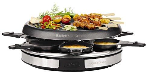 Tefal Gourmet Déco 6 Inox & Design RE127812 - Raclette con thermospot, revestimiento antiadherente, 6 palas individuales, 850 W, acero inoxidable, cromo