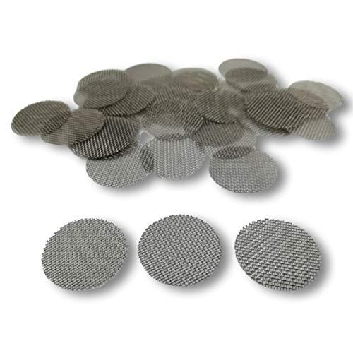 EKNA Einlegesiebe - Stahlsiebe grob - Pfeifensieb 20mm - Sieb rostfrei - Mighty Vaporizer Siebe - Pfeifensiebchen (25 STK.)