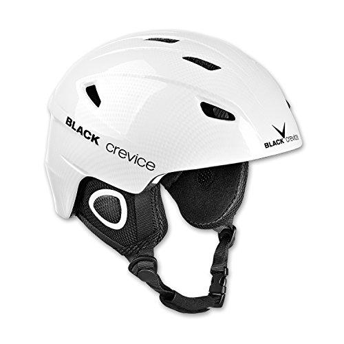 BLACK CREVICE Casco de esquí Kitzbühel I Casco de esquí de diseño Deportivo para Hombre y Mujer I Casco de esquí de policarbonato Transpirable I Talla Ajustable (XL, Negro Carbono)